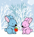 Free Rabbits In Love Winter Card Royalty Free Stock Image - 35044136
