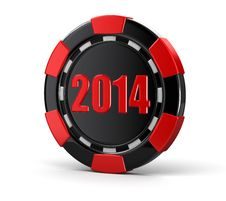 Casino Chip 2014 &x28;clipping Path Included&x29; Royalty Free Stock Photos