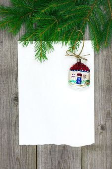 Christmas Card With Retro Bauble. Royalty Free Stock Photography