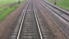 Free Railroad Track. View From The Last Wagon Royalty Free Stock Photo - 35042675