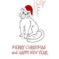 Free Christmas Postcard Design With Santa Cat Royalty Free Stock Photo - 35047875