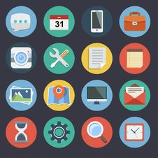 Free Flat Icons Set 1 Royalty Free Stock Images - 35050049