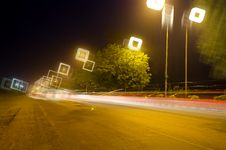 Free Night Ride Light Tails Royalty Free Stock Images - 35055569