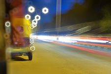 Free Night Ride Light Tails Stock Photos - 35056043