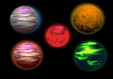 Free Set Of Planets Illustration Royalty Free Stock Photography - 35058107