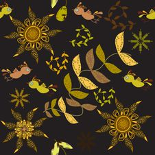 Free Cute Seamless Pattern With Cartoon Bird And Flower Stock Images - 35059254
