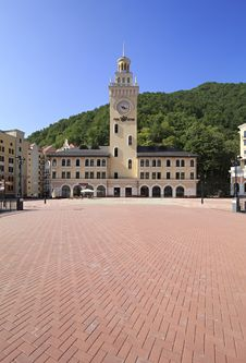 City Hall In The Rosa Khutor Alpine Resort. Royalty Free Stock Photo