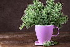 Free Fir-tree Twigs In A Mug On Old Wooden Table Stock Image - 35065361