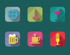 Free Vector Flat Web Icons Set. Royalty Free Stock Photos - 35065988