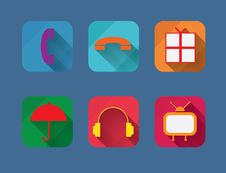 Free Vector Flat Entertainment Icons Set. Stock Photography - 35066002