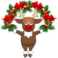 Free Christmas Deer With Garland Royalty Free Stock Images - 35077239