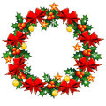 Free Christmas Wreath With Holly Berry Royalty Free Stock Photo - 35077345