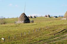 Free Autumn Nature Background: Haystacks In Wallachia Royalty Free Stock Photo - 35072145