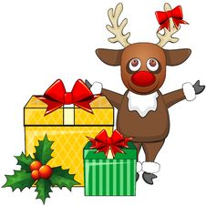 Free Deer And Christmas Gifts Royalty Free Stock Image - 35077346