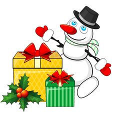 Free Snowman And Christmas Gifts Royalty Free Stock Photo - 35077435