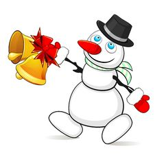 Free Snowman With Christmas Bells Stock Photo - 35077460