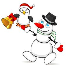 Free Snowman With Small Penguin Stock Images - 35077494