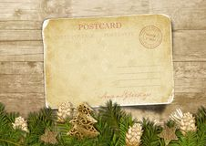 Free Christmas Vintage Postcard  With Fir-tree With  Cones Over Wood Royalty Free Stock Photo - 35077895