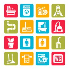 Free Colorful Cleaning Icons Royalty Free Stock Image - 35088646