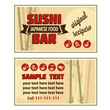 Visiting Card Of Sushi Bar Royalty Free Stock Images