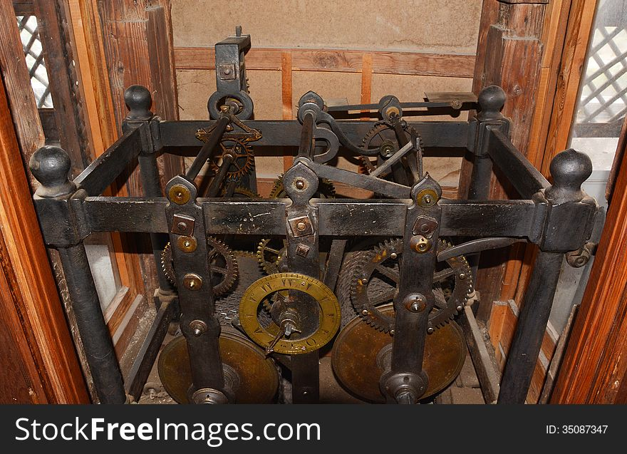 English old clock gear mechanism