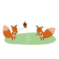 Free Squirrels Play With Acorn On The Field Stock Image - 35091781
