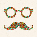 Free Retro Illustration With Hipster Glasses And Mustac Royalty Free Stock Images - 35091869