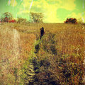 Free Grunge Image Of Autumn Landscape And Kid Stock Photography - 35092002
