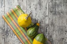 Free Small Pumpkins On Old Table. Royalty Free Stock Photography - 35094827