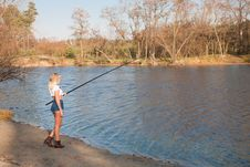 Free Woman Fishing In River Royalty Free Stock Image - 35095116
