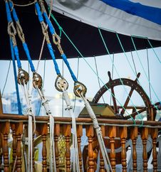 Skipper Wheel On Sailboard Stock Photography