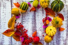 Autumn Fall Background Table Setting Background Vegetables Fruit Royalty Free Stock Image