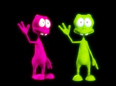 Two Alien S Waving 2 Royalty Free Stock Image