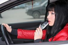 Free Woman In A Car Is Thinking Royalty Free Stock Photo - 3514625