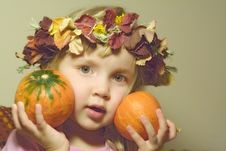 Free Girl With Pumpkins Royalty Free Stock Photo - 3516005