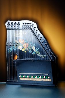 Detail Of Old Zither Instrument Royalty Free Stock Images