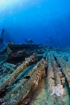 Diver On Wreck Stock Image