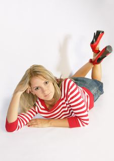 Free The Blonde In Red Shoes Stock Photo - 3518030