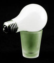 Free Lightbulb On Shot Glass Royalty Free Stock Photography - 3518457