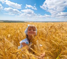 Free Beautiful Little Girl In A Meadow Stock Images - 35102434