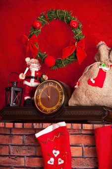 Santa Claus And Christmas Decoration Royalty Free Stock Photos