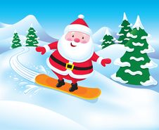 Free Snowboarding Santa Claus Royalty Free Stock Photography - 35105277