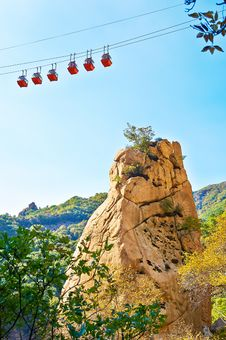 The Cable Cars And Mountain Of Gallery Valley Of Zu Mountain Royalty Free Stock Images