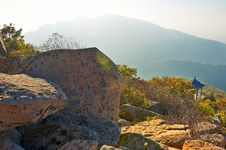 National Leaders Inscription Having Peak Of Autumn Zu Mountain Royalty Free Stock Image