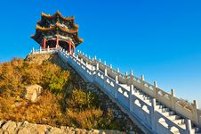The Pavilion And Stone Steps On The Apsara Peak Of Royalty Free Stock Image
