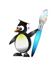 Free Studying Penguin Stock Image - 35109911
