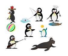 Free Penguin Character Royalty Free Stock Photo - 35110085