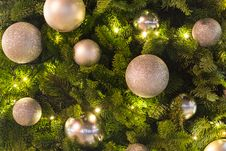 Free Silver Baubles On Pine Tree Royalty Free Stock Photos - 35115438