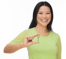 Free Asian Woman Hold Old Key On White Stock Images - 35116294