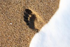 Free Footprint Is Washing Away By Sea Foam Stock Images - 35119254